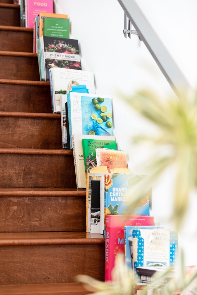 closeup of stairs and books