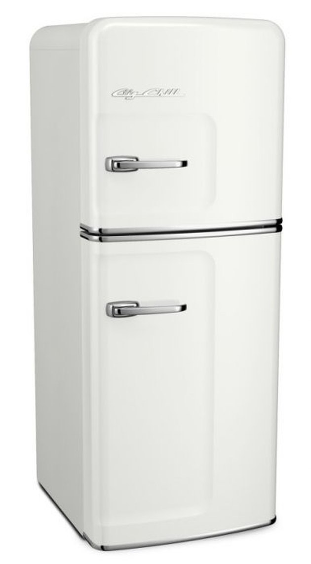 Narrow white retro fridge with chrome accents