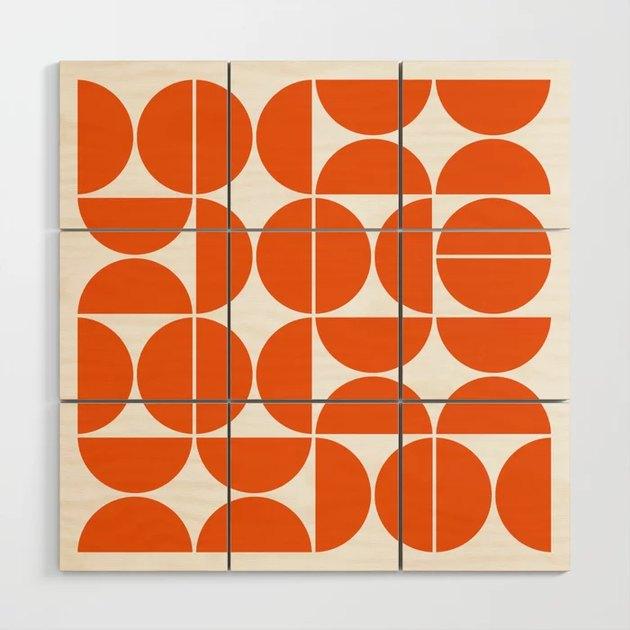 orange geometric wood wall art
