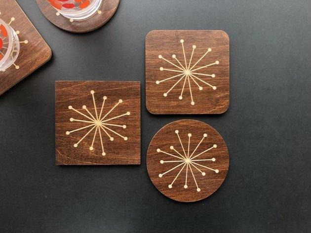 engraved midcentury modern wood coasters