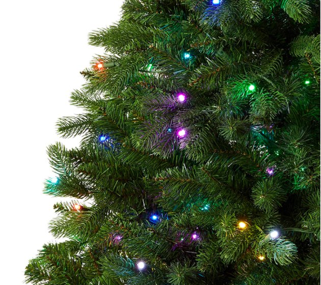 close-up photo of christmas tree with lights
