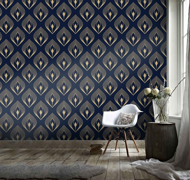 Blue and gold midcentury modern wallpaper with geometric shapes