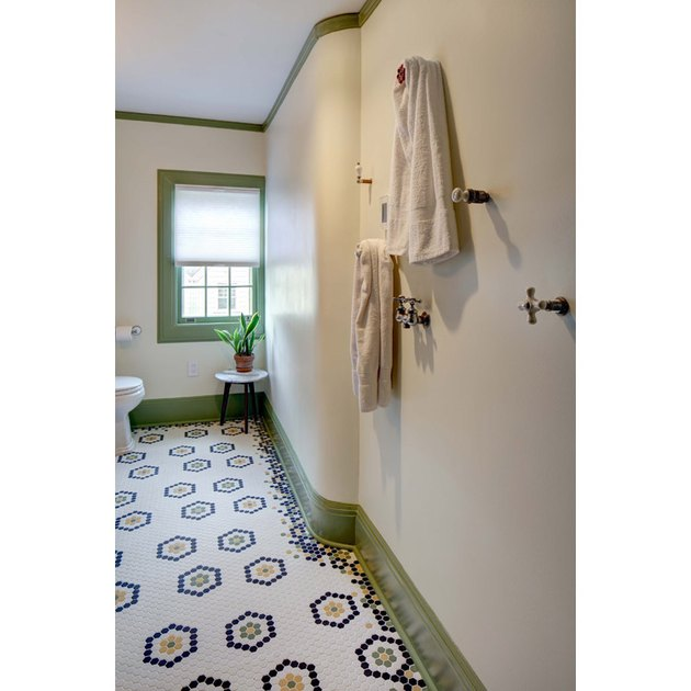 vintage craftsman bathroom with mosaic bathroom floor tile