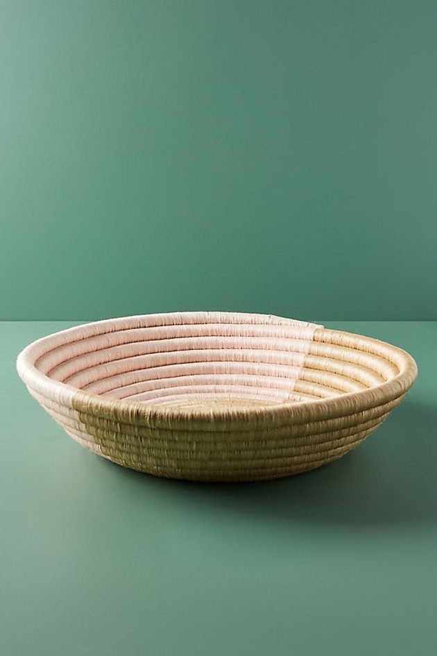 pink and natural woven basket