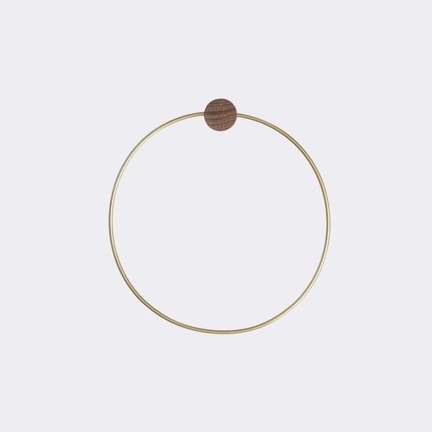 Brass handtowel ring with small wooden accent