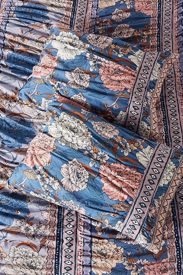 blue floral shams set