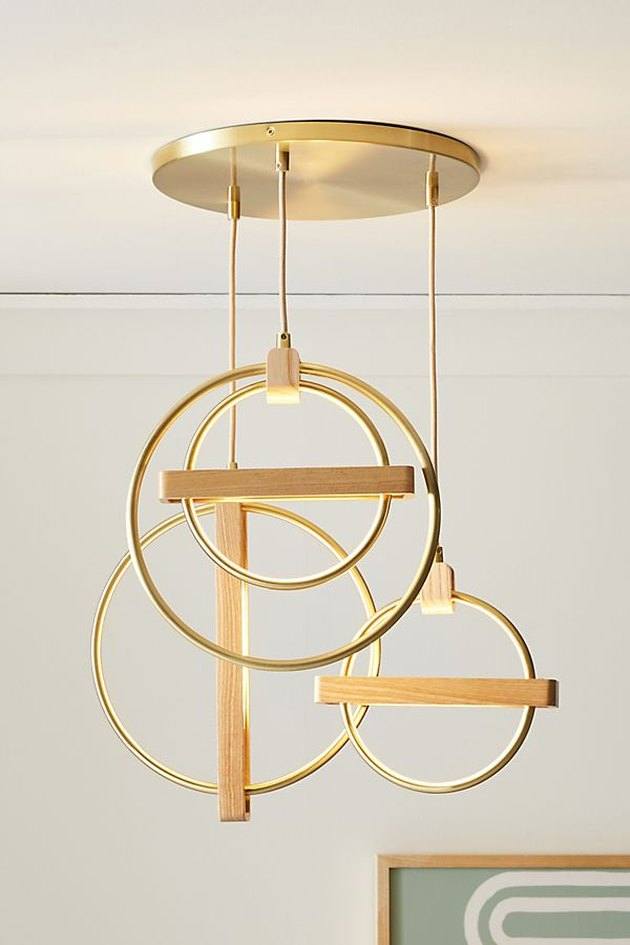abstract gold pendant light