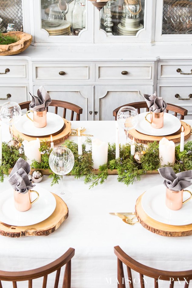 farmhouse Christmas decorating idea for dinner with rustic accents in dining room