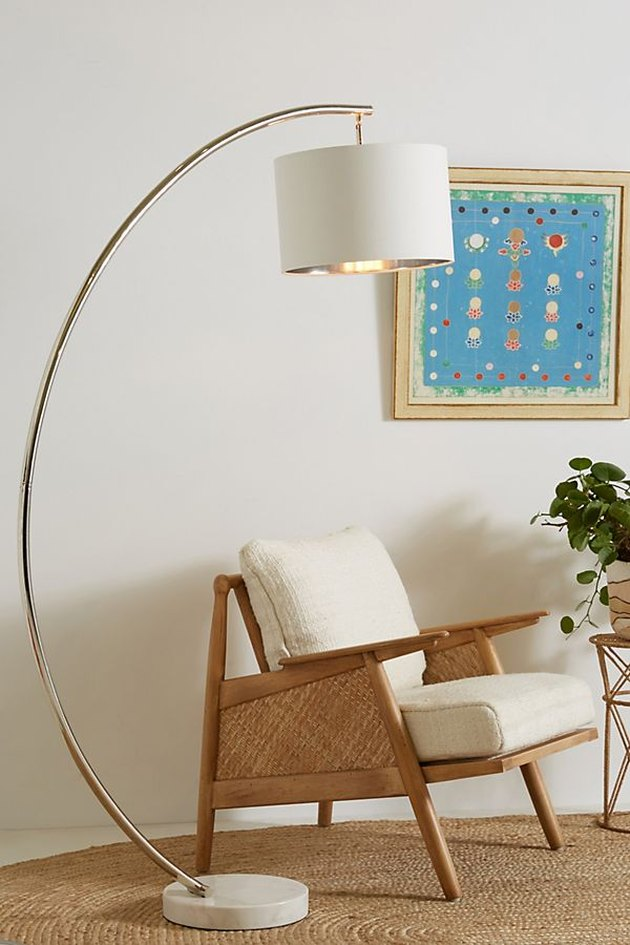 gold curved floor lamp