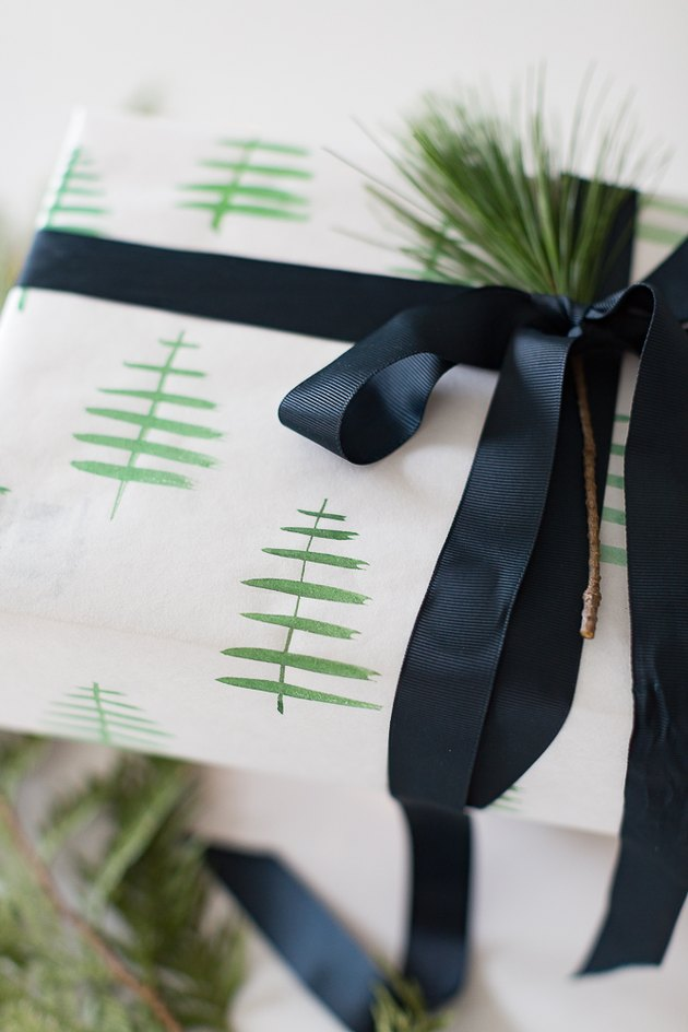 Wrapped gift with blue ribbon.