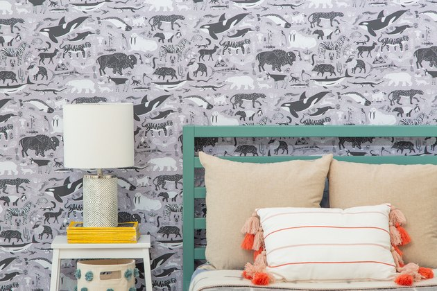 animal-themed wallpaper in bedroom