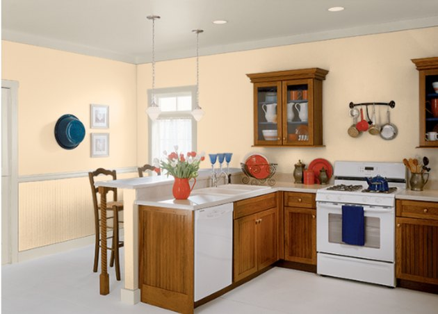 Behr cheese powder paint color, still image of kitchen