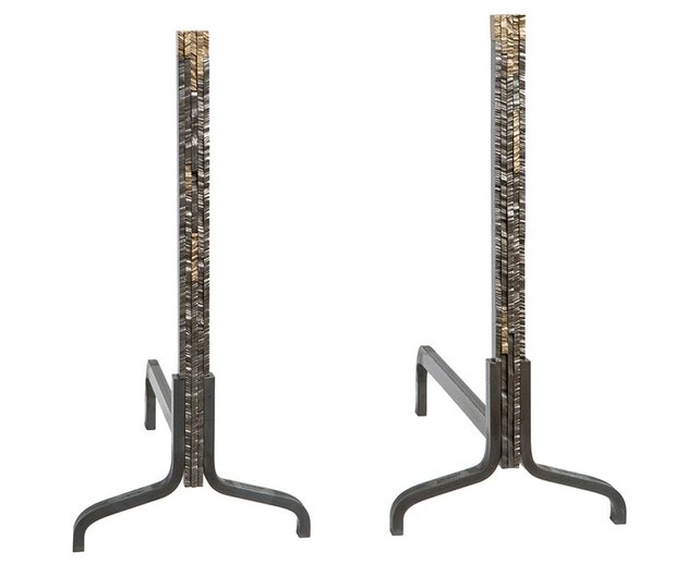hand cut bronze and steel fireplace andirons
