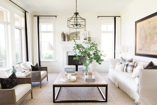 farmhouse-style living room in white and neutral