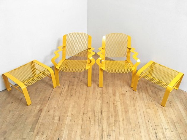 Memphis School Yellow Steel Chair and Ottomans (set of two), $1,200