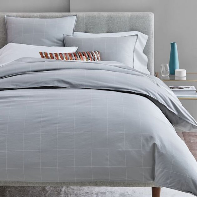 gray grid duvet cover and shams