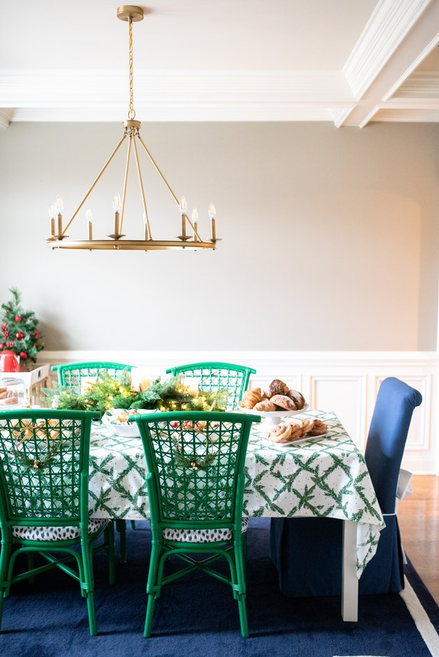 holiday table with green chairs