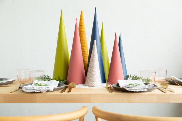 holiday tablescape with colorful trees