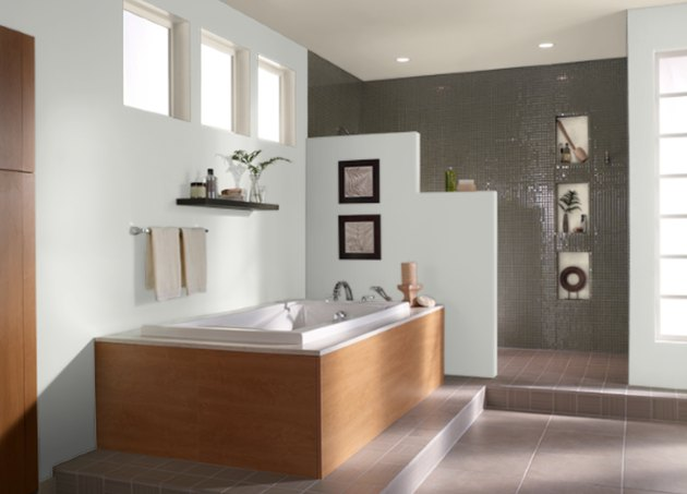 behr winds breath paint color, still image of bathroom