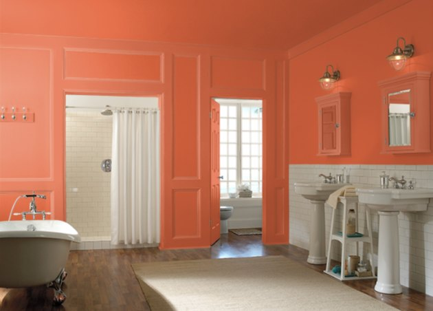 behr emergency zone paint color, still image of bathroom