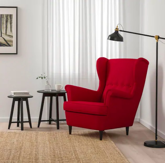 red sofa chair in living room