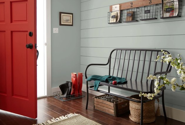 magnolia americana egg paint color, still image of entryway room with bench