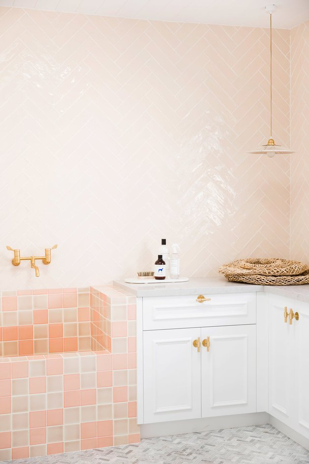 modern home interior design in pink bathroom