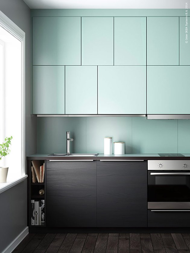 two-tone mint green kitchen