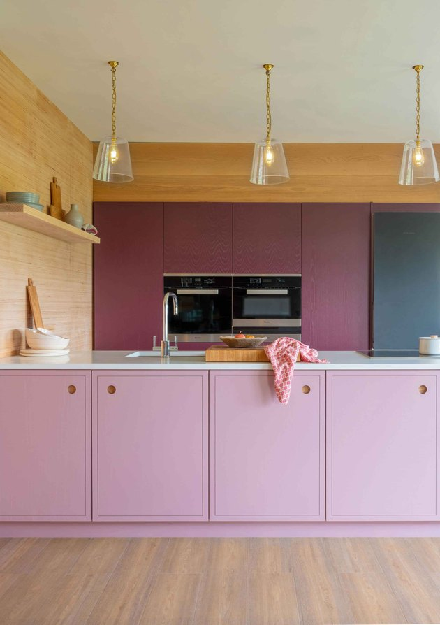 purple kitchen color idea with lilac kitchen cupboards with ply panelling