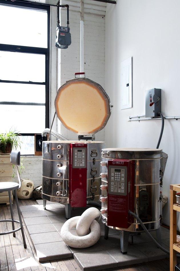two kilns in studio space