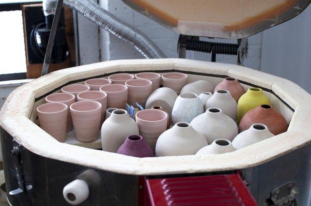 ceramic pieces inside kiln