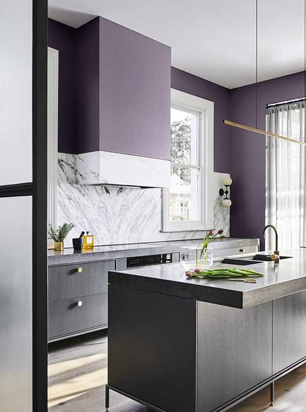 purple kitchen color idea with black cabinetry and marble backsplash