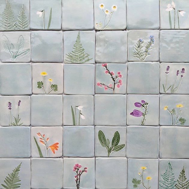 Pressed botanicals tile
