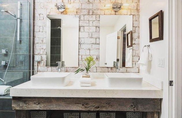 The brick bathroom backsplash of our dreams.