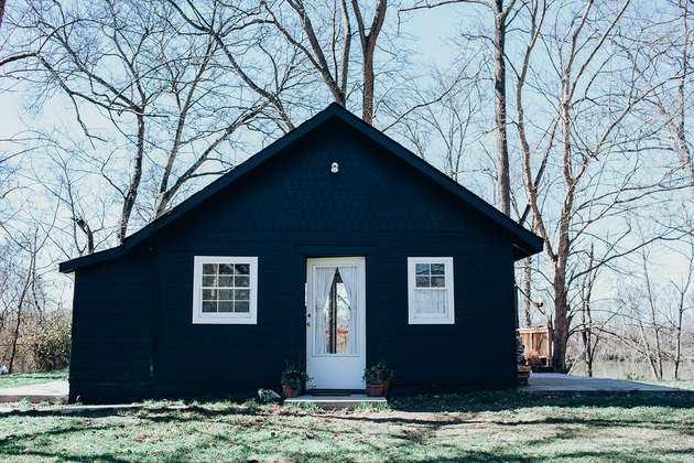 house with navy blue paint and white trim