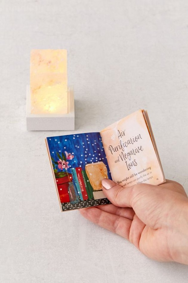 person holding mini book near mini himalayan mood lamp