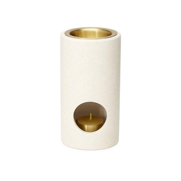 white and gold cylinder oil burner