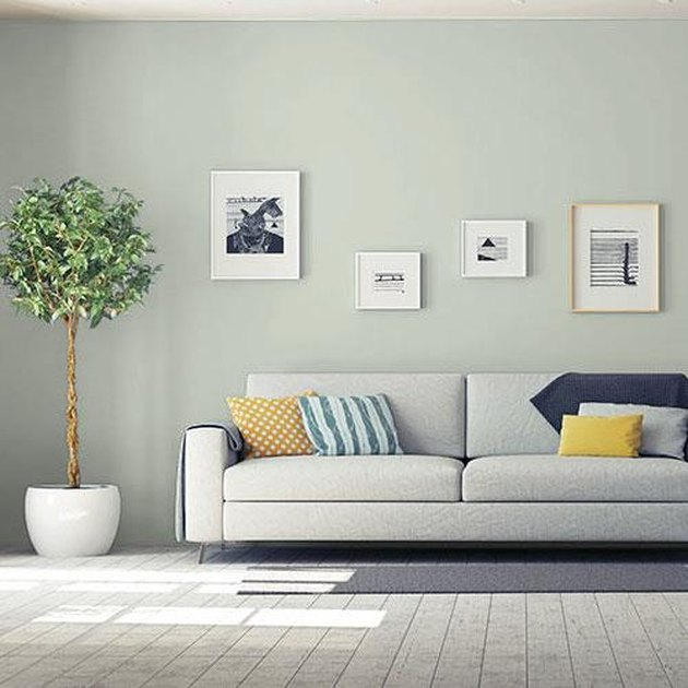 living room space with gray couch