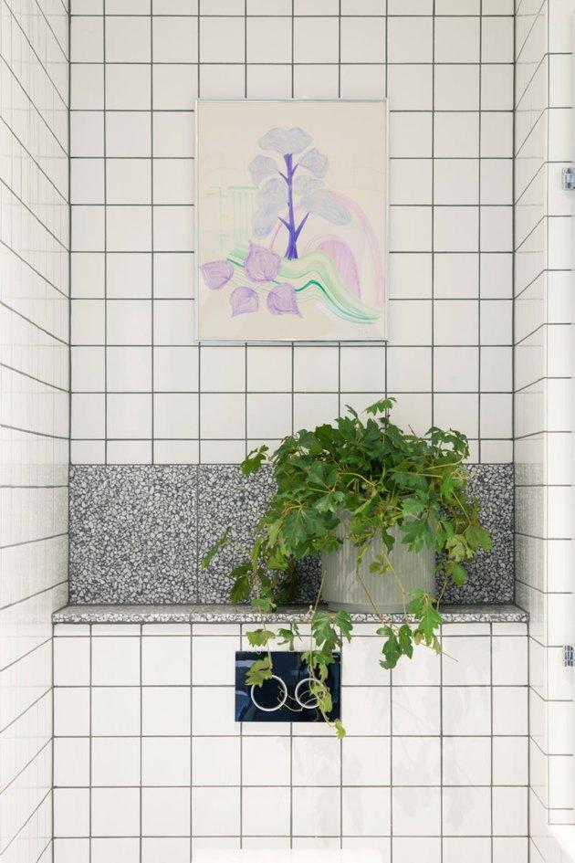 square white shower tile