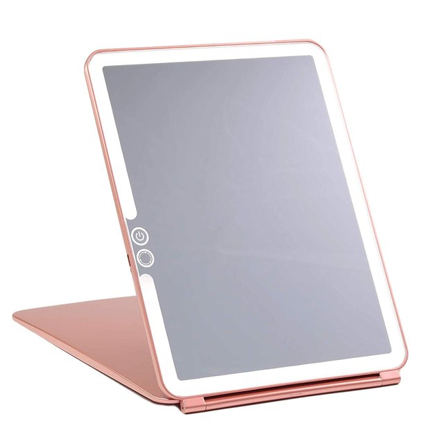 Rose gold LED travel mirror with foldable stand