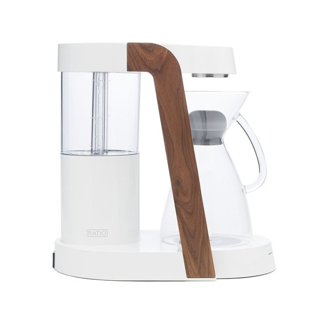 white and wood coffee maker
