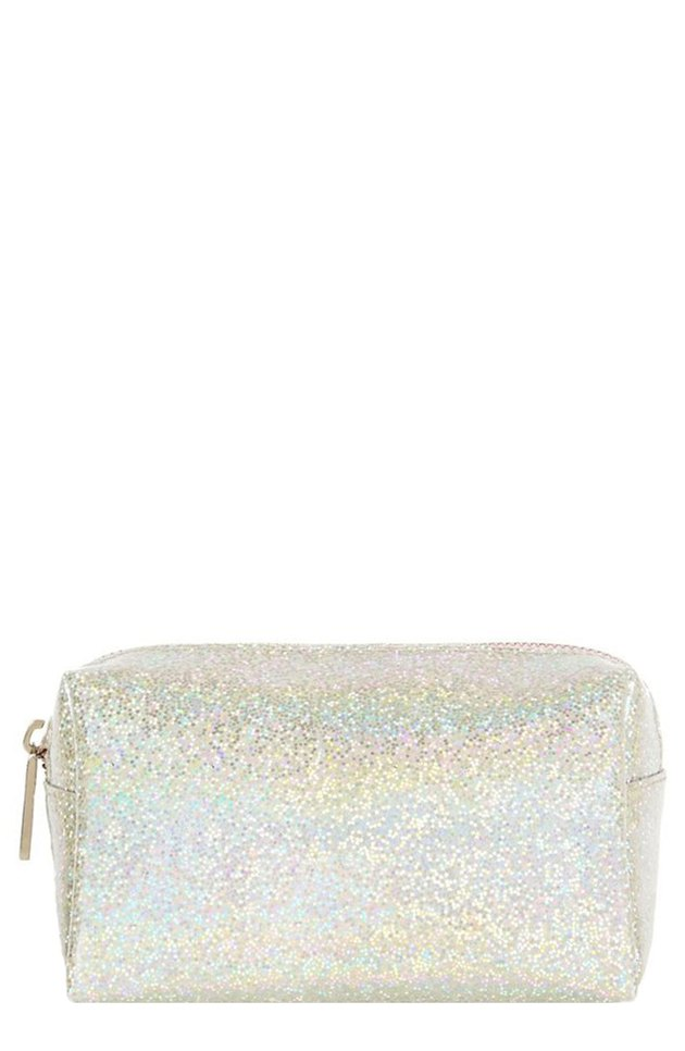 white iridescent makeup case with zipper