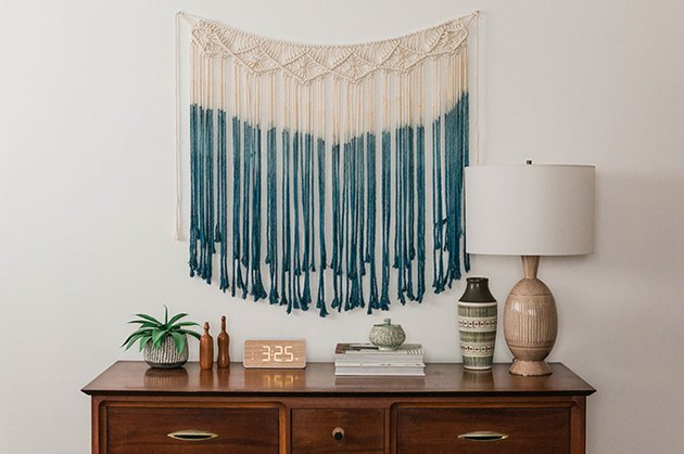 Add an extra dose of personality to this ready-made macrame wall hanging with natural dye.