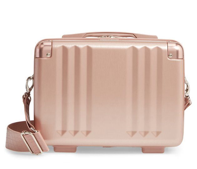 rose gold hardshell toiletries case