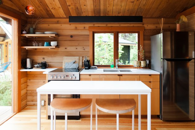 rustic cabin one wall kitchen with island