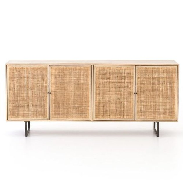 Blonde wood mid-century media console with four doors