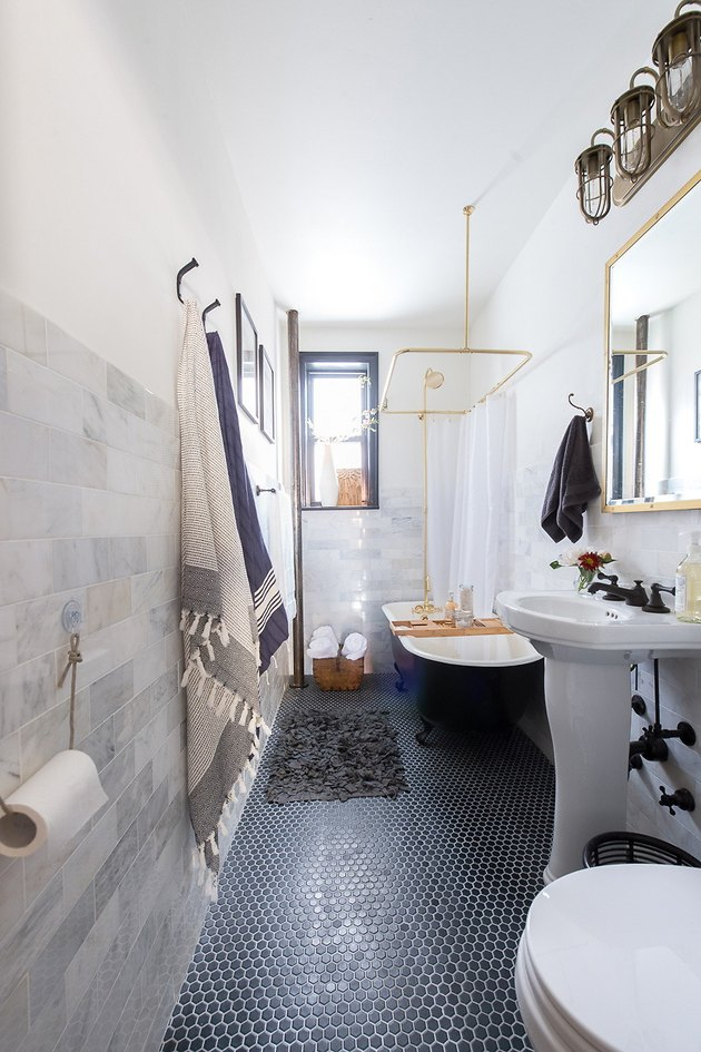 industrial bathtub shower combination with clawfoot tub