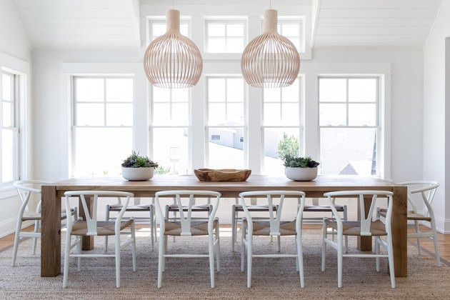 modern beach chic dining room with farm style table