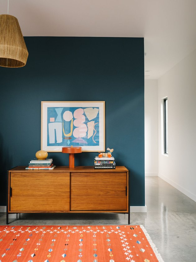 Teal and orange midcentury modern colors in playroom