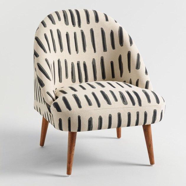 Charcoal, Gray, and Ivory Dash Print Noemi Tub Chair